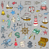Boat&Sea. Hand drawn doodle Boat and Sea set Vector illustration boat icons sea life concept elements Ship symbols collection Marine life Nautical design Royalty Free Stock Images