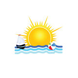 Boat on the sea icon vector illustration Royalty Free Stock Images