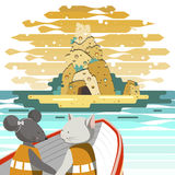 A boat on the sea. The illustration. The cat and mouse go in a boat on the sea. They go to an island,on which stands a rock of cheese in the background of the Stock Photography