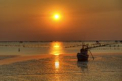 Boat and sea landscape at sunset time Royalty Free Stock Photos