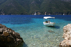 Boat in the sea of Lefkada, Greece Royalty Free Stock Photos