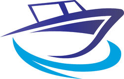Boat in the sea logo concept Royalty Free Stock Photography