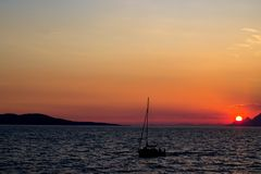 The boat in the sea in Makarska, Croatia Stock Photo