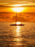 Boat on the sea at the morning sunrise Royalty Free Stock Image