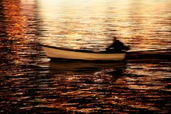 The boat in the sea Royalty Free Stock Photography