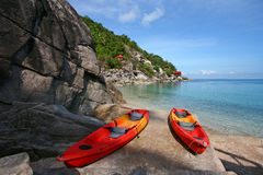 Boat at sea. Red boat at sea in Thailand Stock Image