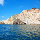 From the boat sea and sky in mediterranean sea santorini greece Royalty Free Stock Image