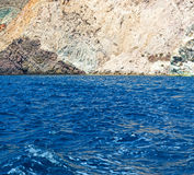 From the boat sea and sky in mediterranean sea santorini greece Royalty Free Stock Photos