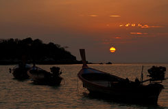 Boat,sea and sun. In the morning beach,Thailand Royalty Free Stock Photos