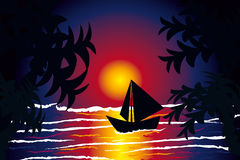 Boat sea sunset Stock Image