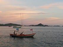 Boat. Sea sunset bluewatet Royalty Free Stock Photo