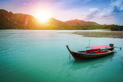 The boat on the sea with sunset light in evening  at Krabi provi Stock Photography