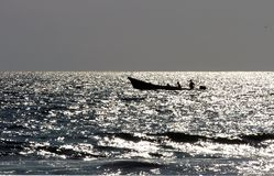 Boat on sea during sunset, Puerto Escondido Royalty Free Stock Photos