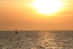 Boat. On the sea at sunset time Stock Photo