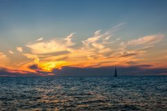 Boat in sea sunset Royalty Free Stock Photography