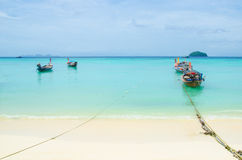 Boat on the sea in thailand. Boat on sea and beach in lipe island at thailand Royalty Free Stock Photography