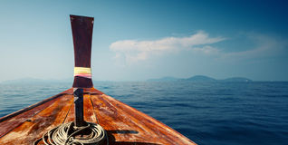 Boat in the sea. Thailand's traditional long tail boat in the calm sea Stock Photography