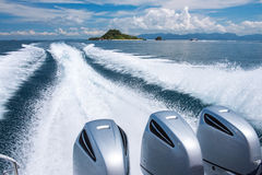 Boat on the sea to fast moving. At krabi thailand Royalty Free Stock Photography