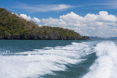Boat on the sea to fast moving at lipe. Royalty Free Stock Photos