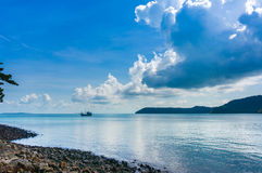 Boat on the sea tropical beach Royalty Free Stock Photo