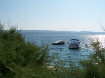 Boat on the sea. Boat waiting for passengers on the sea in Croatia Royalty Free Stock Image