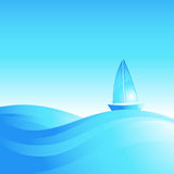 Boat on the sea waves. Royalty Free Stock Photo