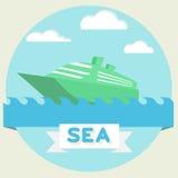 Boat at sea waves Stock Photography