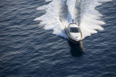 The boat seagoing. On the river Stock Photo