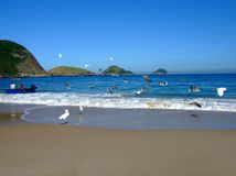 Boat and seagulls in the Beach. Boat and seagulls in Itaipu Beach, Rio de Janeiro, Brazil royalty free stock image