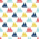 Boat seamless pattern. Vector illustration for nautical design. Bright yacht, ship, sailboat transport pattern. Marine sea wallpaper background. Cartoon Royalty Free Stock Image