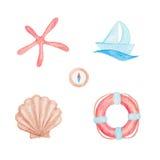Boat, seashell, compass, lifebuoy and starfish drawings  Stock Photos