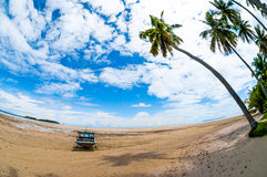 Boat at the seashore. Tropical island photographed with fisheye lens Stock Photography