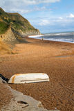 Boat on Seatown beach in Dorset Stock Images