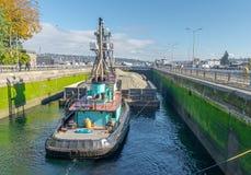 Boat in Seattle Lock stock image