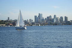 Boat with Seattle skyline Stock Images
