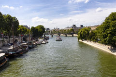 Boat on Seine river Royalty Free Stock Photography