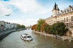 Boat in Seine river in Paris Stock Photo