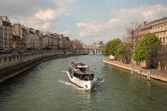 Boat on Seine Royalty Free Stock Photos