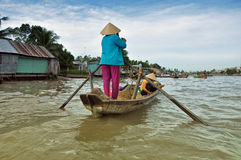 Boat seller at Mekong floating market Royalty Free Stock Photos