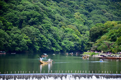 Boat service bring traveller tour Hozugawa River at Arashiyama Stock Photo