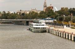 Boat in Seville stock image