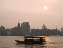 Boat in Shanghai at Sunset Royalty Free Stock Photos