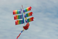Boat shaped kite. Colorful kite on the beach Royalty Free Stock Images