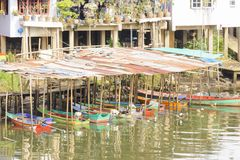 Boat Shed in Chanthaburi river. Royalty Free Stock Photos