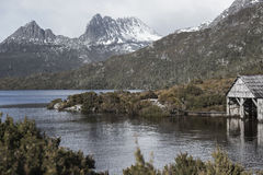 Boat shed in Dove Lake, Tasmania Royalty Free Stock Photography