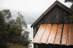 Boat shed in Dove Lake, Tasmania Royalty Free Stock Images