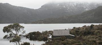 Boat shed in Dove Lake, Tasmania Royalty Free Stock Photos