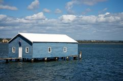 Boat shed on the river Royalty Free Stock Photo