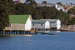 Boat Sheds. In Herne Bay Auckland, taken early morning royalty free stock image