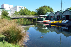 Boat sheds on the Avon River Christchurch - New Zealand Royalty Free Stock Photography